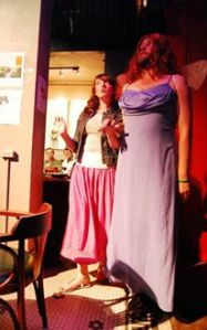 Rob Ready (with Ashley Cowan) in Queen Mab In Drag, proving that a true man knows how to wear a dress.