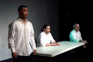 "A scene from ""Shooter"", featuring Melvin Badiola, Randy J. Blair, and John Lowell, photo by Christopher Alongi"