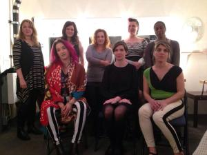 From left to right: Front row: singer Kim Boekbinder, Women of Letters co-curator Michaela McGuire, graphic novelist Ellen Forney. Back row: linguist Laura Welcher, Me, novelist Ayelet Waldman, performance poet Daphne Gottlieb, author Natalie Baszile.