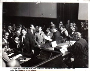 "The only woman you can make out on the left? That's her. This is from the trial concerning her play The Pleasure Man which was accused of being ""immoral"" and ""indecent"". The cast of 56 were arrested and carted away from the theater at which they were performing."