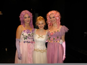 Once a stepsister, always a stepsister. Backstage at the 2006 Vassar College Drama Department production of Into the Woods. Summer Scott as Florinda, Noelle McMurtry as Cinderella, and our very own Marissa Skudlarek as Lucinda.