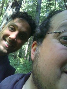 Brian Katz, deep in the Humboldt redwoods with a mysterious man of his own- CMTC's first TD, Dave Ampola (left).