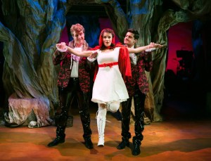 Corinne Proctor, as Little Red, definitely struggling with one too many moral quandaries (Jeffrey Brian Adams and Ryan McCraryin the SF Playhouse production of INTO THE WOODS. Photo by  Jessica Palopoli.