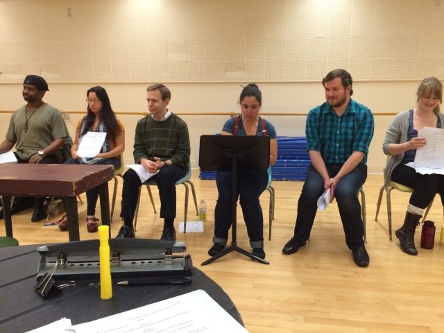 The whole cast of Code Name: Brass Rose. From left to right: Charles Lewis III, Veronica Tjioe, Matt Gunnison, Melinda Marshall, Neil Higgins, and Heather Kellogg. Photo: Rachel Bublitz.