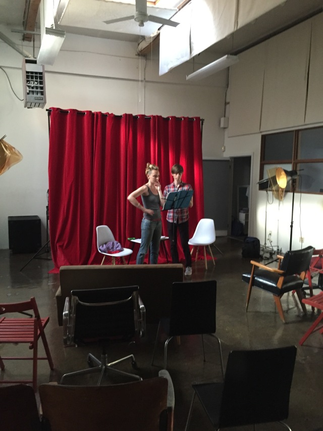Evangeline Crittenden and the composer Nick Rattray, performing an excerpt from the show at Tuesdays with Writing, a monthly salon for new works, hosted by Elena Marx at the Clock Factory in Berkeley. Photo credit: Wesley Newfarmer.