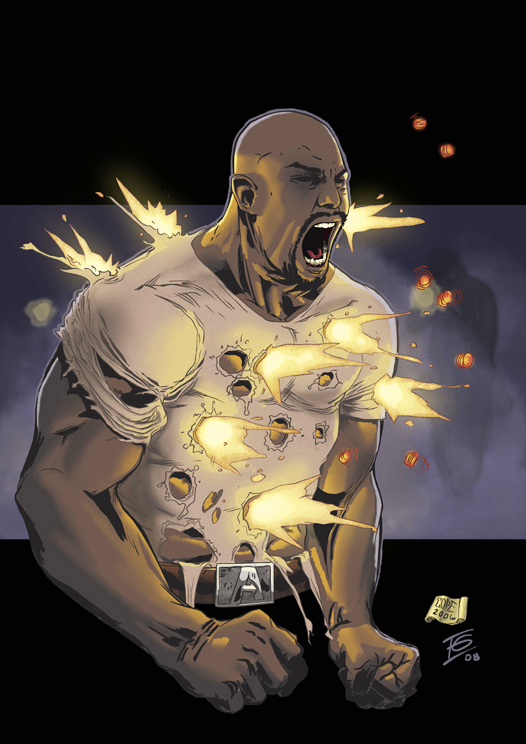 Luke Cage deflecting bullets