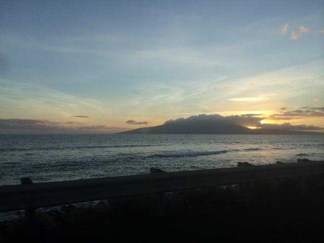 The sun setting in Maui.
