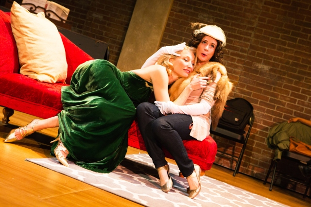 She (Carrie Paff*) and Millicent (Millie DeBenedet) rehearse a scene from 'The Last Kiss'.