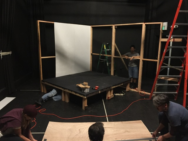 The set – mid-construction – for Sheherezade's Last Tales. (photo by Bridgette Dutta Portman)