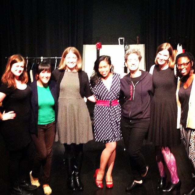 Me and the Desk Set ladies on audition night. Even slouching, I'm still taller than everyone.