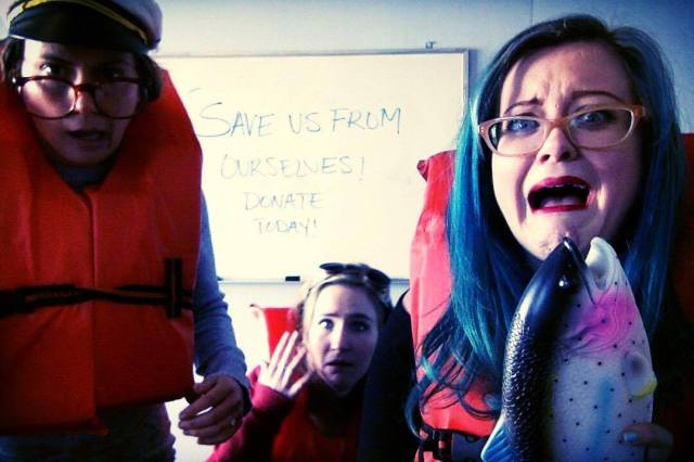 Halfway through the day, you start losing your mind and taking selfies with lifejackets and plastic fish, or at least that's what Allison did.