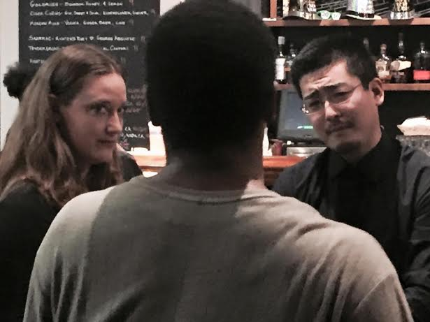 "Melissa Classon and Andrew Chung have tea with Charles Lewis III in ""Everyday Is Like Sunday"""