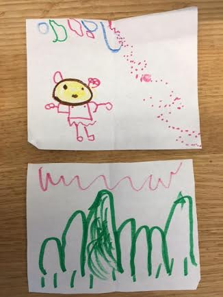 Pictures by Kid Five and Kid One featuring a magical princess and mountains, respectively.