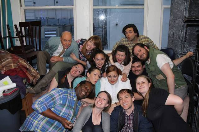 The cast (and stage managers) of Middletown snuggling in the Green Room!)