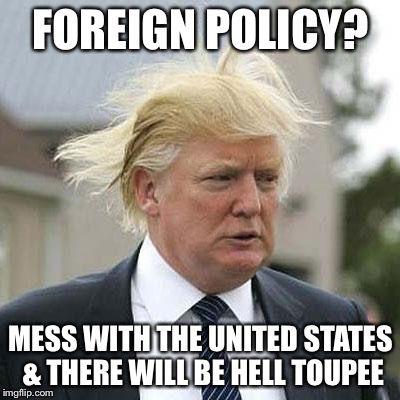 Trump toupee pun meme