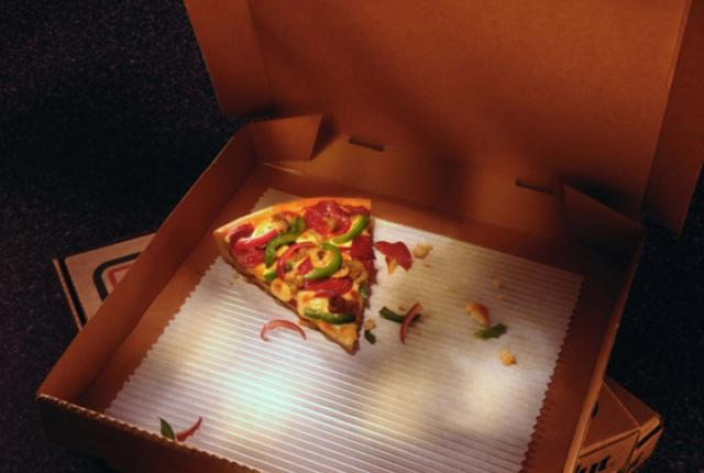 How it feels to stay when the other artists leave: last piece of pizza.